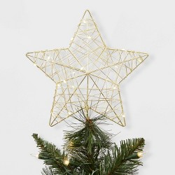 Dew Light Wrapped Star LED Christmas Tree Topper Gold - Wondershop™