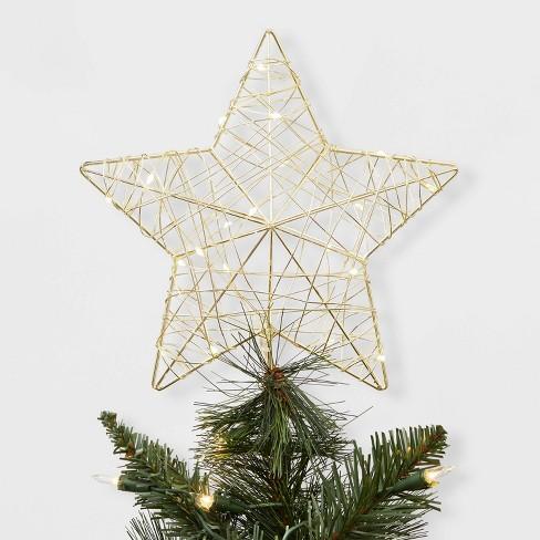 Led Christmas Tree Lights.Dew Light Wrapped Star Led Christmas Tree Topper Gold Wondershop