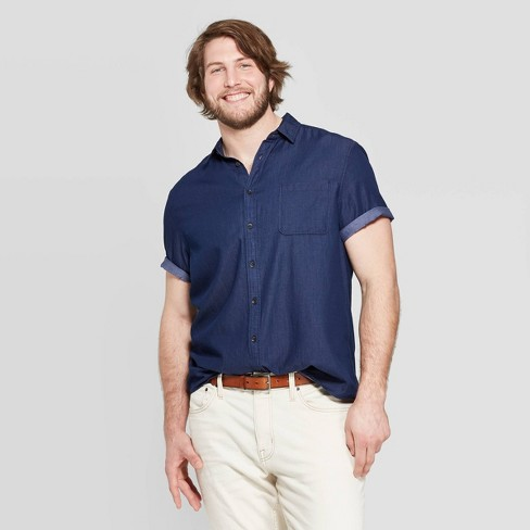 Men's Big & Tall Casual Fit Short Sleeve Denim Button-Down Shirt - Goodfellow & Co™ Navy Voyage - image 1 of 3