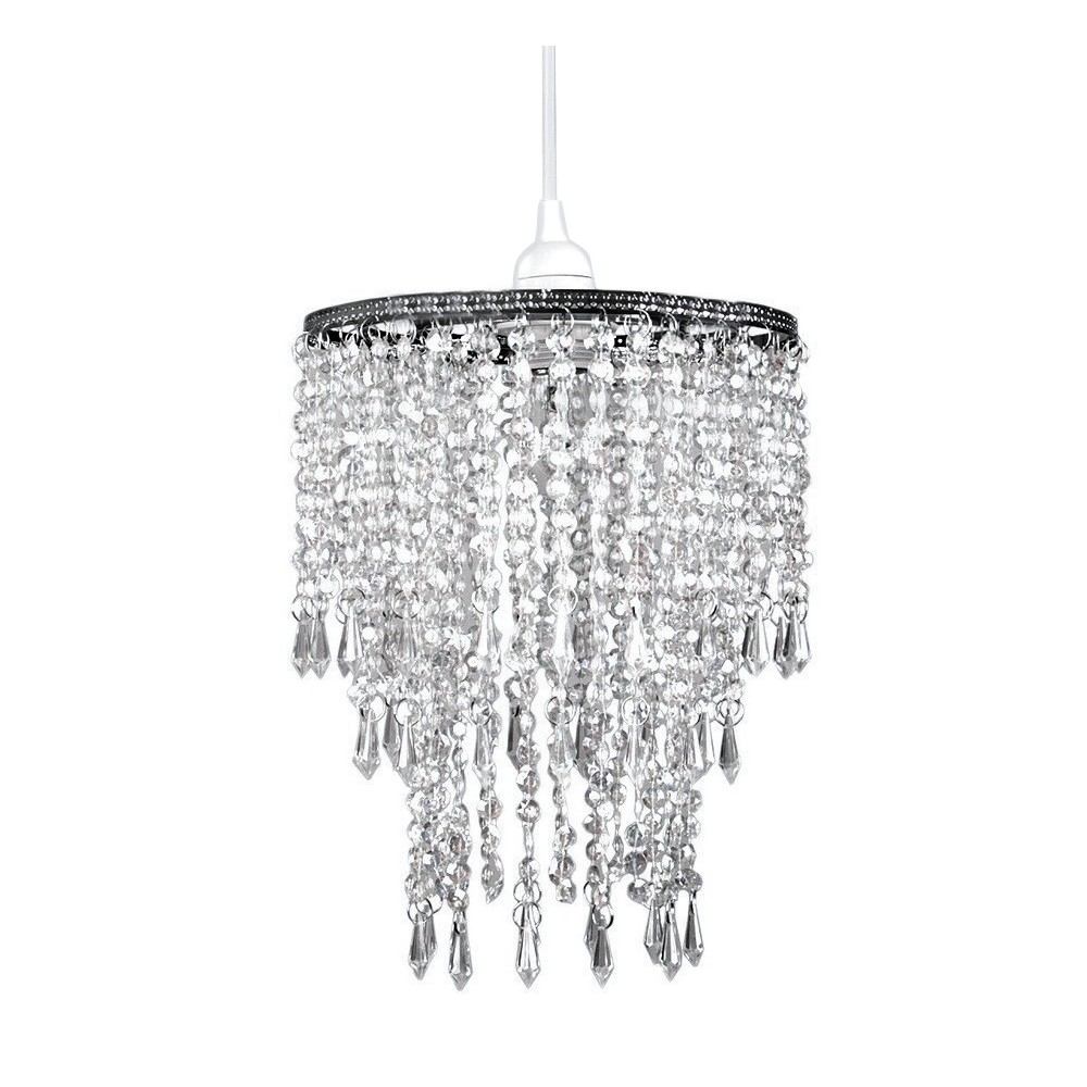 Tadpoles Faux Crystal Triple Layer Dangling Pendant Light Shade, Chandelier Style, Clear
