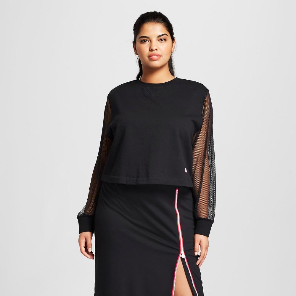 Hunter for Target Women's Plus Size Mesh Sleeve Sweatshirt - Black 2X