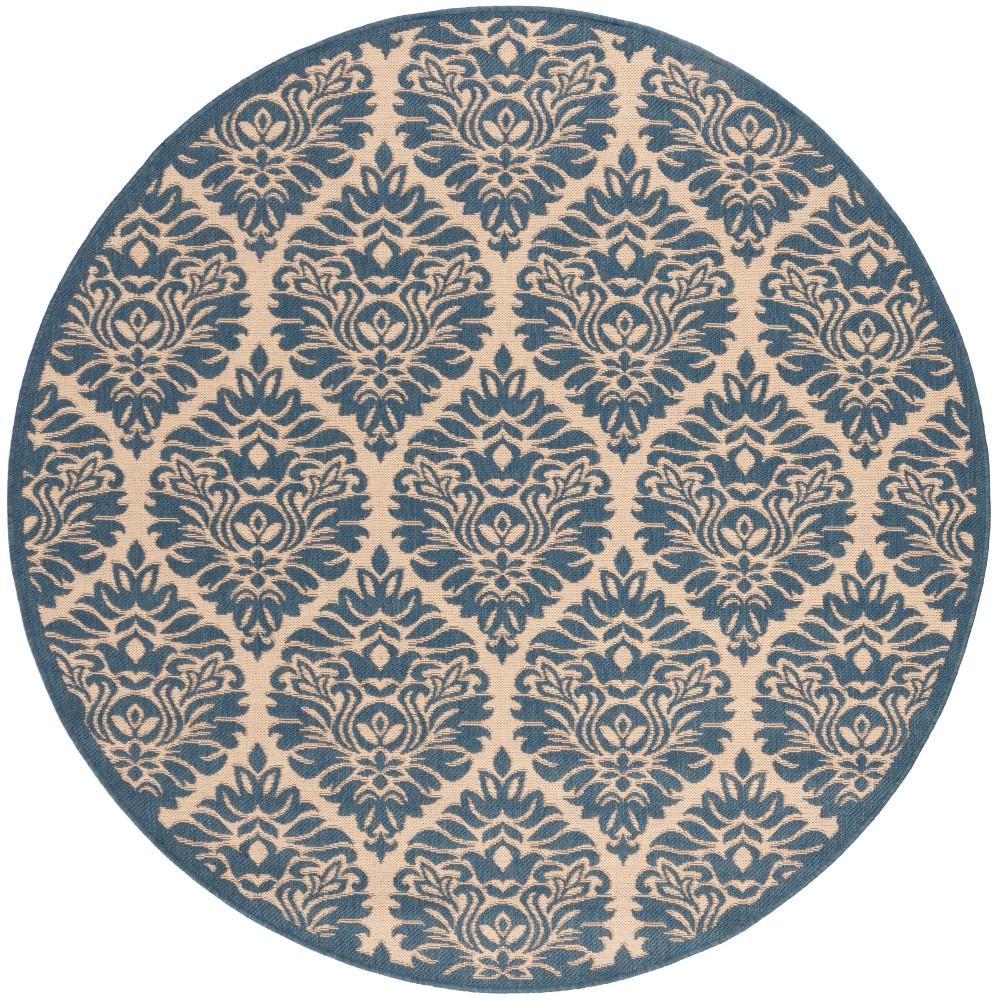 6'7 Damask Loomed Round Area Rug Cream/Blue (Ivory/Blue) - Safavieh