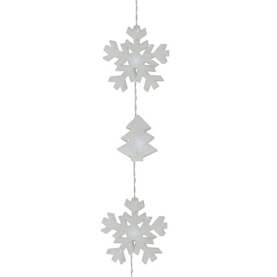 Kaemingk 12ct Battery Operated LED Snowflake and Tree Christmas Lights Clear - 5.5' Clear Wire