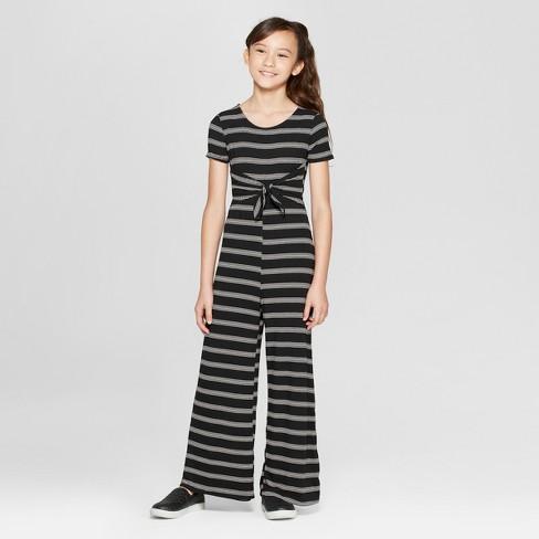 Girls' Stripe Front Tie Knit Jumpsuit - art class™ Black - image 1 of 3