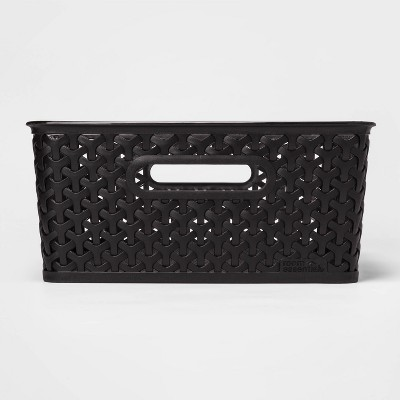 Y-Weave Medium Decorative Storage Basket Black - Room Essentials™