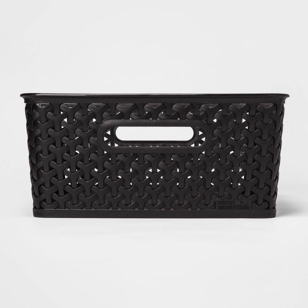 Y Weave Medium Decorative Storage Basket Black Room Essentials 8482