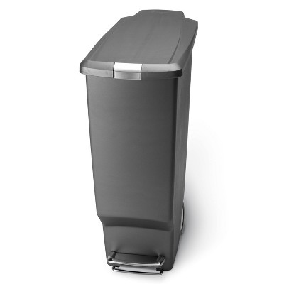 simplehuman 40L Slim Plastic Step Trash Can Gray