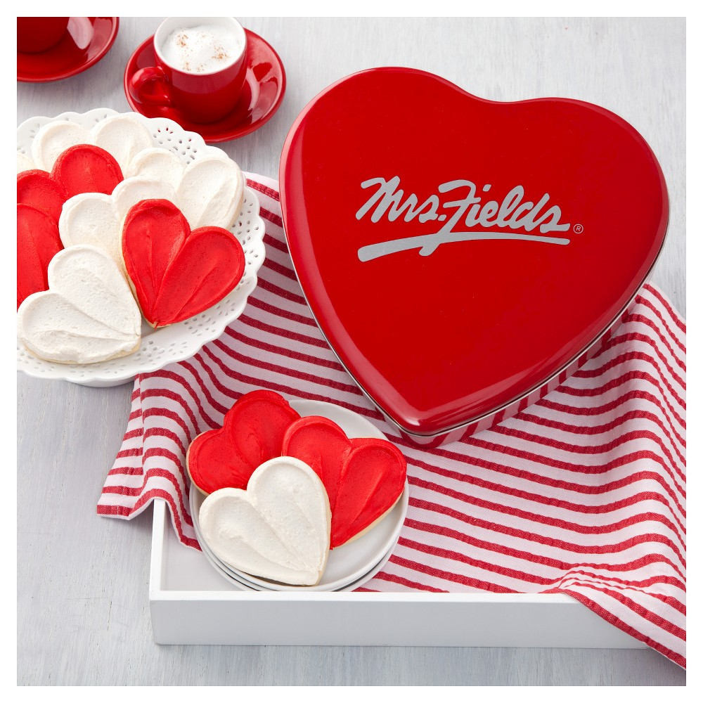 Mrs. Field Heart Shaped Cookie Tin Include 12 Frosted Cookies