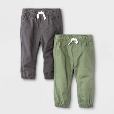 Baby Boys' 2pk Woven Jogger Pull-On Pants - Cat & Jack™ Gray/Green 12M
