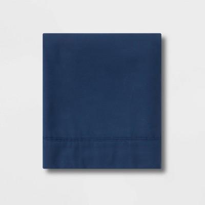 Queen 300 Thread Count Ultra Soft Flat Sheet Dark Blue - Threshold™