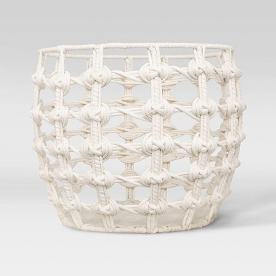 "15"" x 12"" Macrame Basket in Cotton Poly Rope White - Opalhouse™"