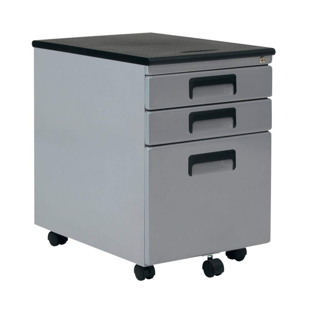 Image of 3 Drawer Rolling File Cabinet Silver Gray - Calico Designs