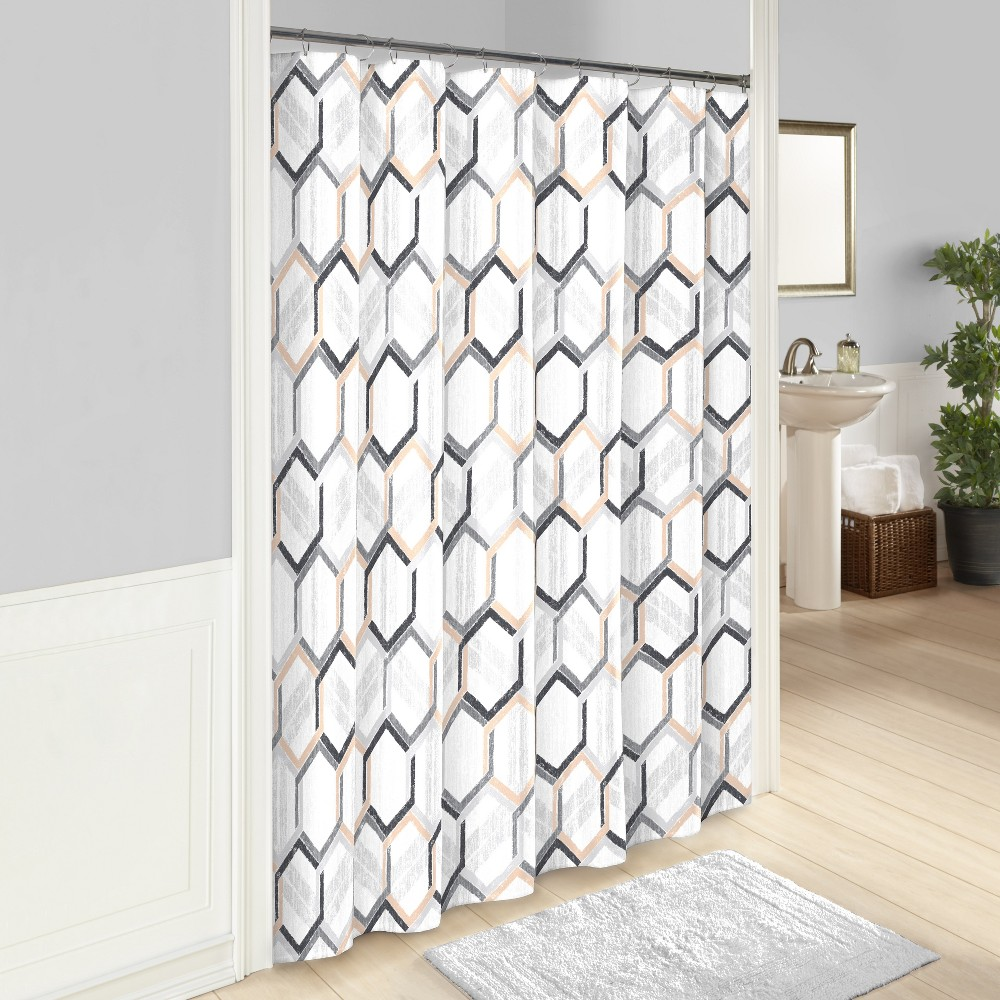 Hexagonal Printed Shower Curtain Gray - Vue