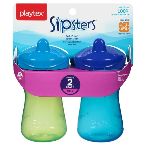 Playtex Sipsters Stage 2 Spout Sippy Cup 9oz 2 Pack Assorted Colors - image 1 of 9