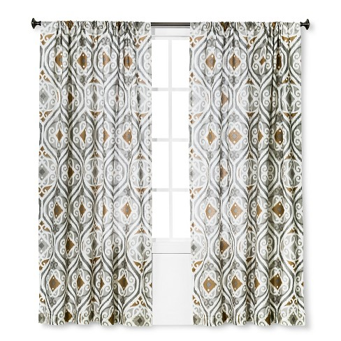 "Curtain Panel Zavarka Gray and Gold (55""x84"") - Homethreads™ - image 1 of 1"