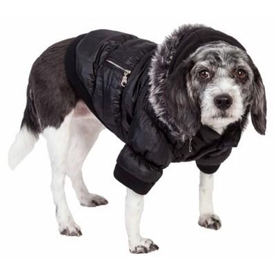 Pet Life Metallic Fashion Dog and Cat Parka Coat - Black