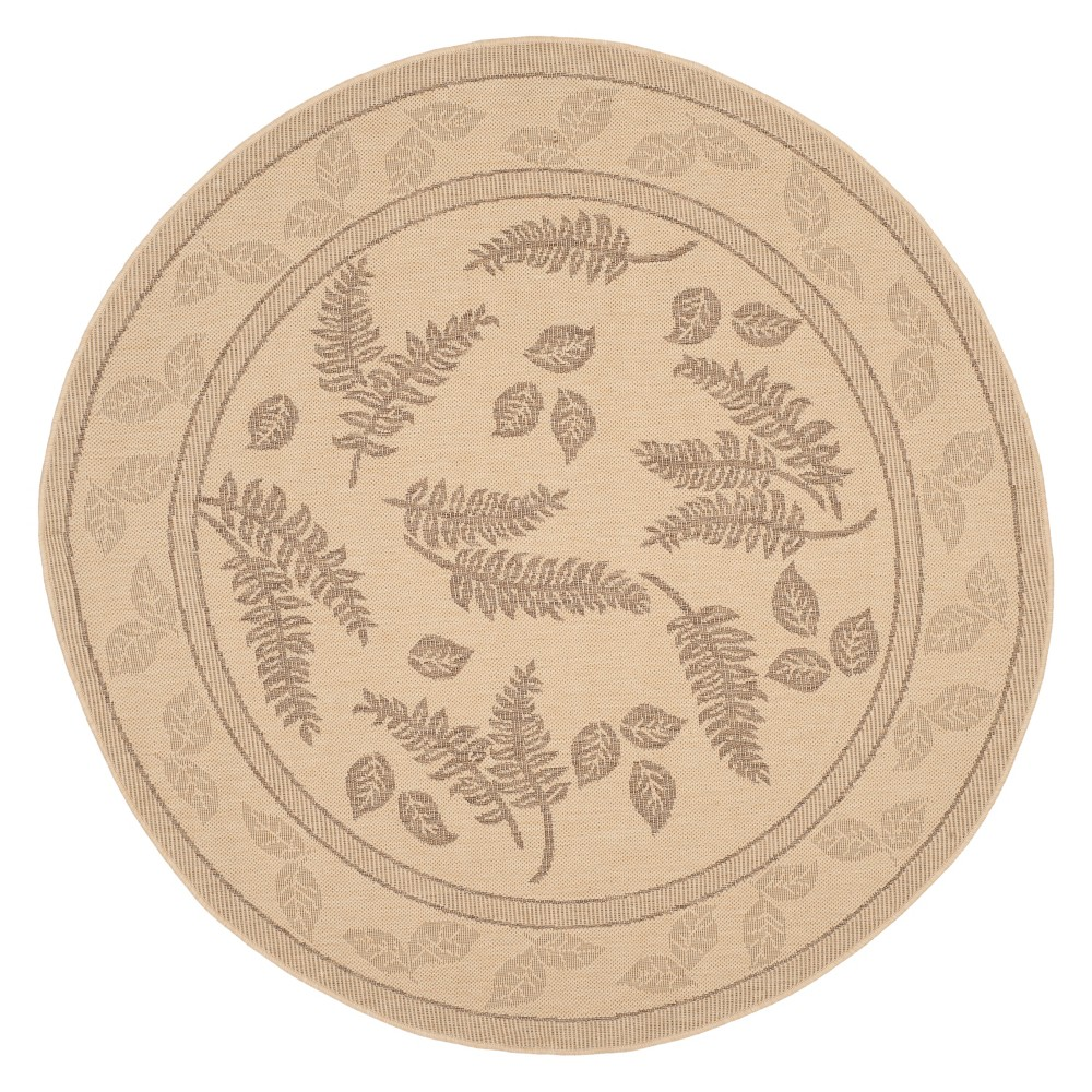 Susette Round 6'7 Patio Rug - Natural/Brown - Safavieh