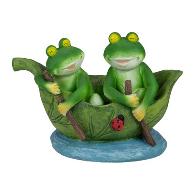 """Northlight 10"""" Green Frogs in a Lily Pad Outdoor Garden Statue"""