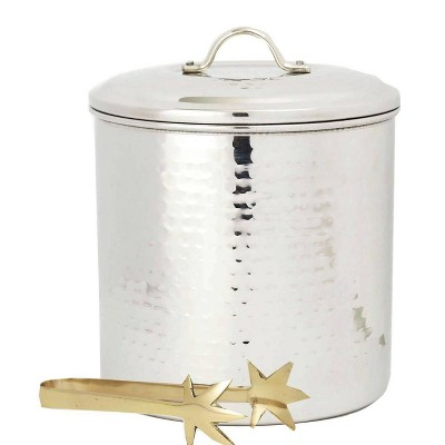 Old Dutch 3qt Stainless Steel Hammered Ice Bucket with Brass Tongs