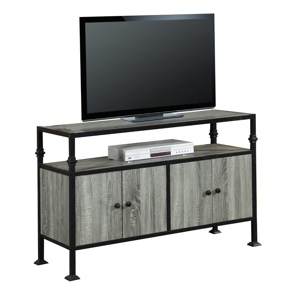 Wood 55 TV Stand With Storage Grey Finish - Home Source Industries, Gray
