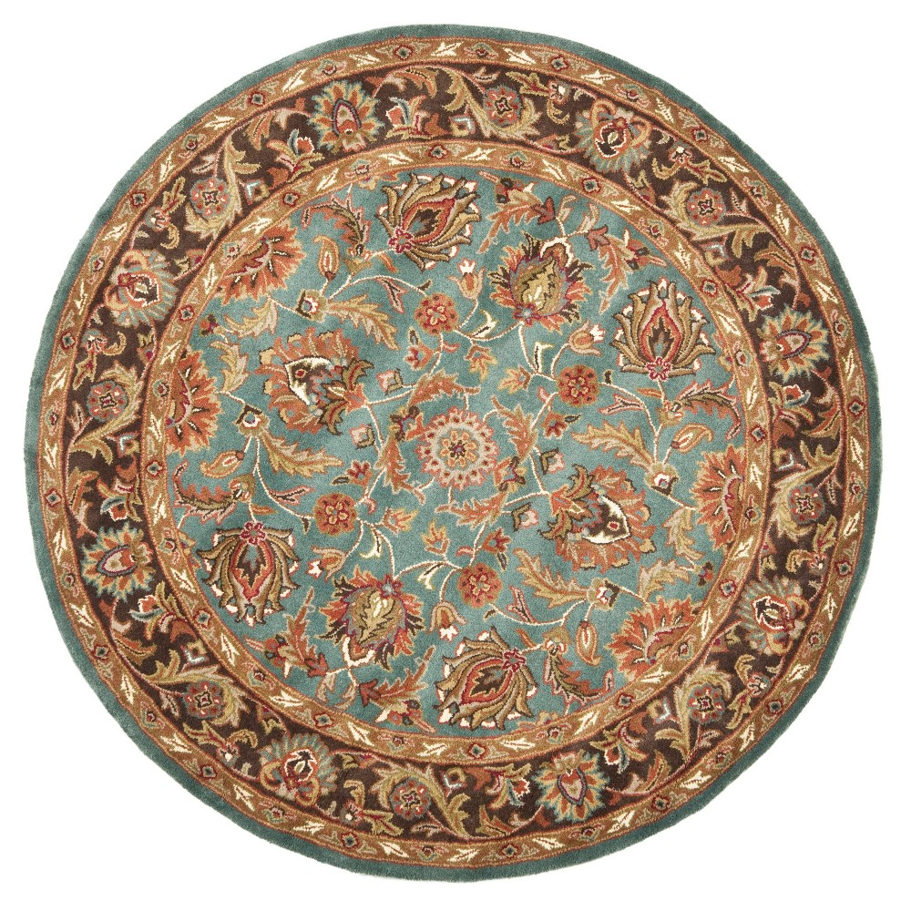 Blue/Brown Floral Tufted Round Area Rug 8' - Safavieh