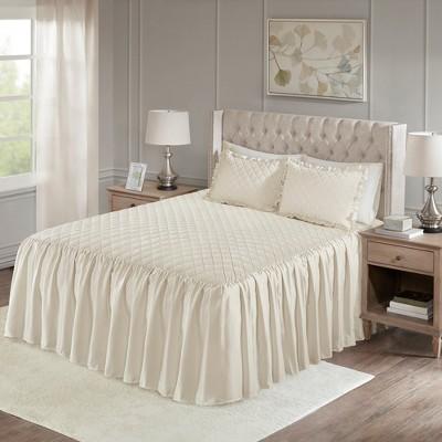 Ivory Kiana Velvet Bedspread Set (King)3pc