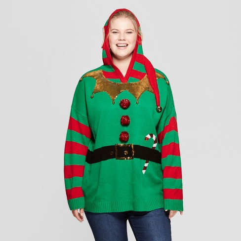 Womens Plus Size Elf Ugly Sweater With Ears 33 Degrees Juniors