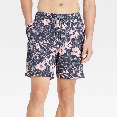 """Men's 7"""" Floral Print Swim Trunk with  Boxer Brief Liner - Goodfellow & Co™ Pink"""