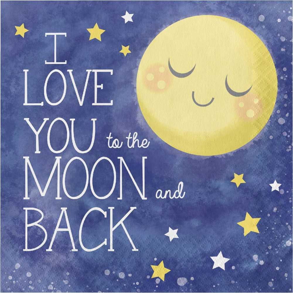 "Image of ""48ct """"I Love You To the Moon and Back"""" Disposable Napkins, Yellow Blue"""