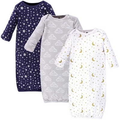 Hudson Baby Infant Cotton Long-Sleeve Gowns 3pk, Navy Stars & Moon, 0-6 Months