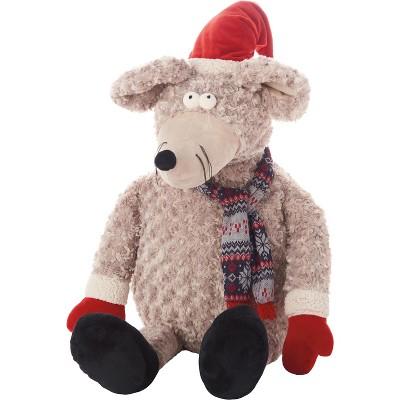 """Mina Victory Holiday Mouse Plush Grey 23"""" x 24"""" Stuffed Animal"""