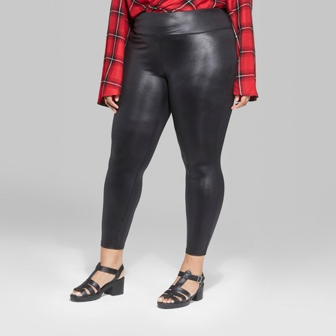 6a5546a0c1f02 Women s Plus Size Faux Leather High-Rise Leggings - Wild Fable™   Target