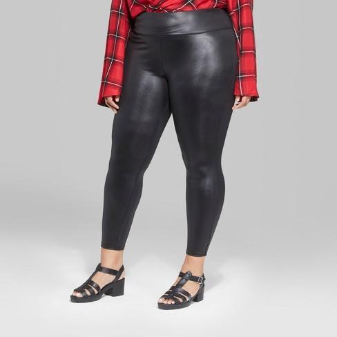 b82c63c21160b6 Women's Plus Size Faux Leather High-Rise Leggings - Wild Fable™ : Target