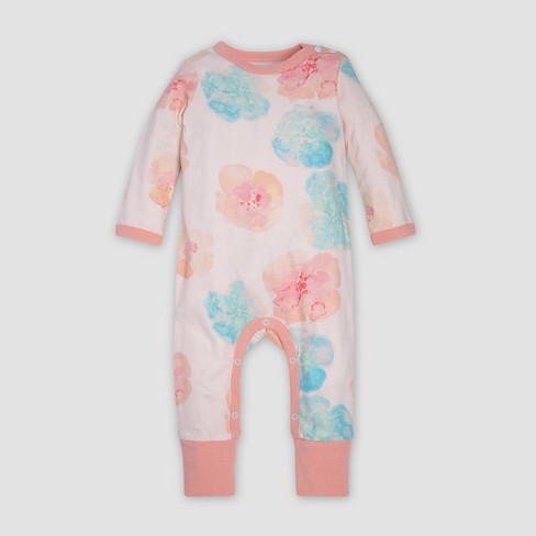Burt s Bees Baby® Organic Cotton Girls  Morning Poppy Coverall   Knot Top Hat  Set - Pink   Target fa77295547f0