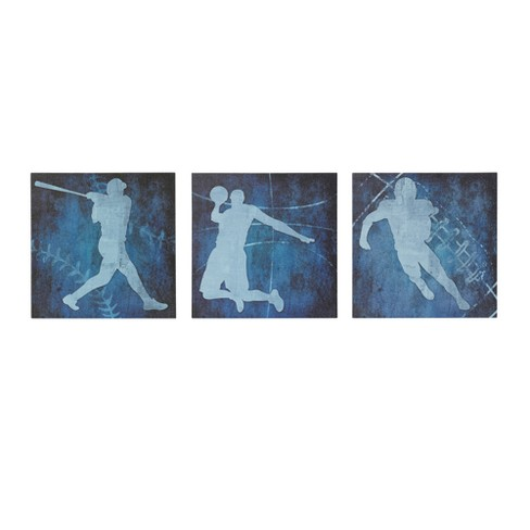 Afterschool Sport Gel Coated Canvas 3pc Decorative Wall Art Set Blue - image 1 of 7