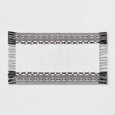 "20""x32"" Striped Fringe Bath Rug Black/White - Threshold™"