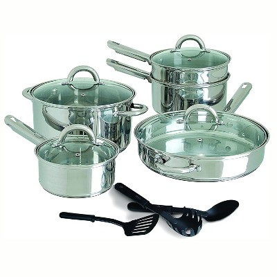 Gibson Home Abruzzo 12 Piece Stainless Steel Kitchen Pots Pans Cookware Set with Lids and 3 Serving Utensils, Mirrored Silver Finish