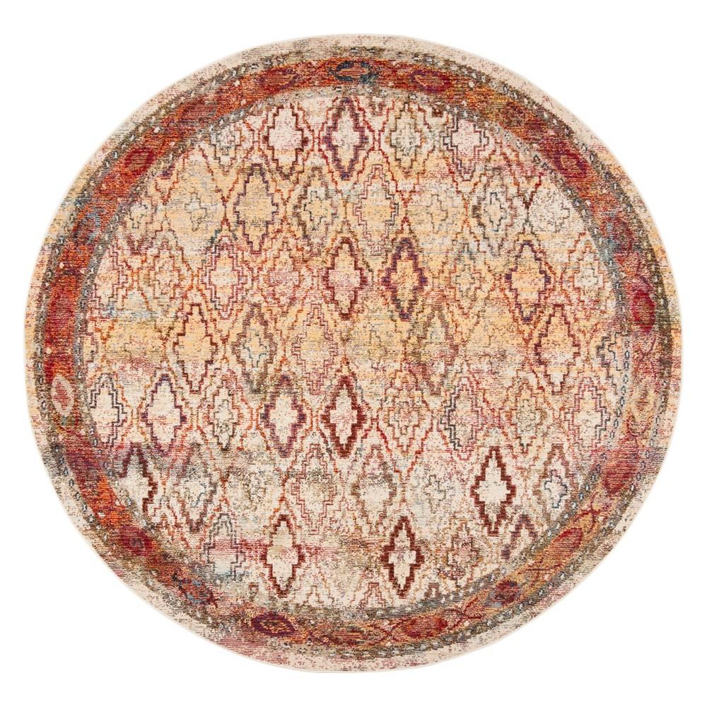 7'x7' Tribal Design Loomed Round Area Rug Cream/Rose (Ivory/Pink) - Safavieh