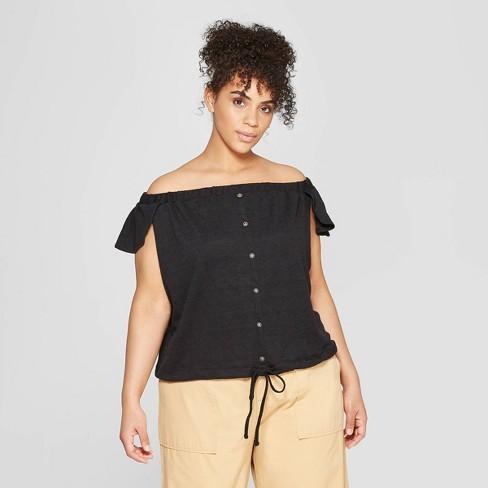 b2fbd33cbda8c3 Women s Plus Size Short Flutter Sleeve Scoop Neck Button-Down Bardot Top -  Who What Wear™ Black   Target