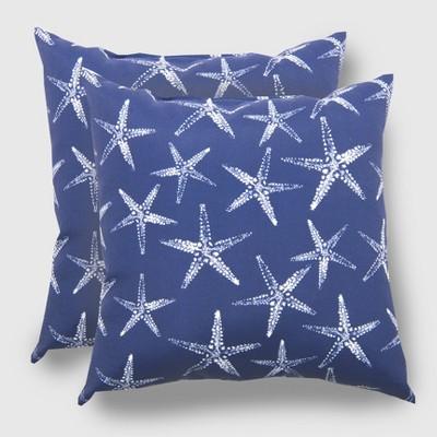 2pk Square Starfish Outdoor Pillow - Threshold™