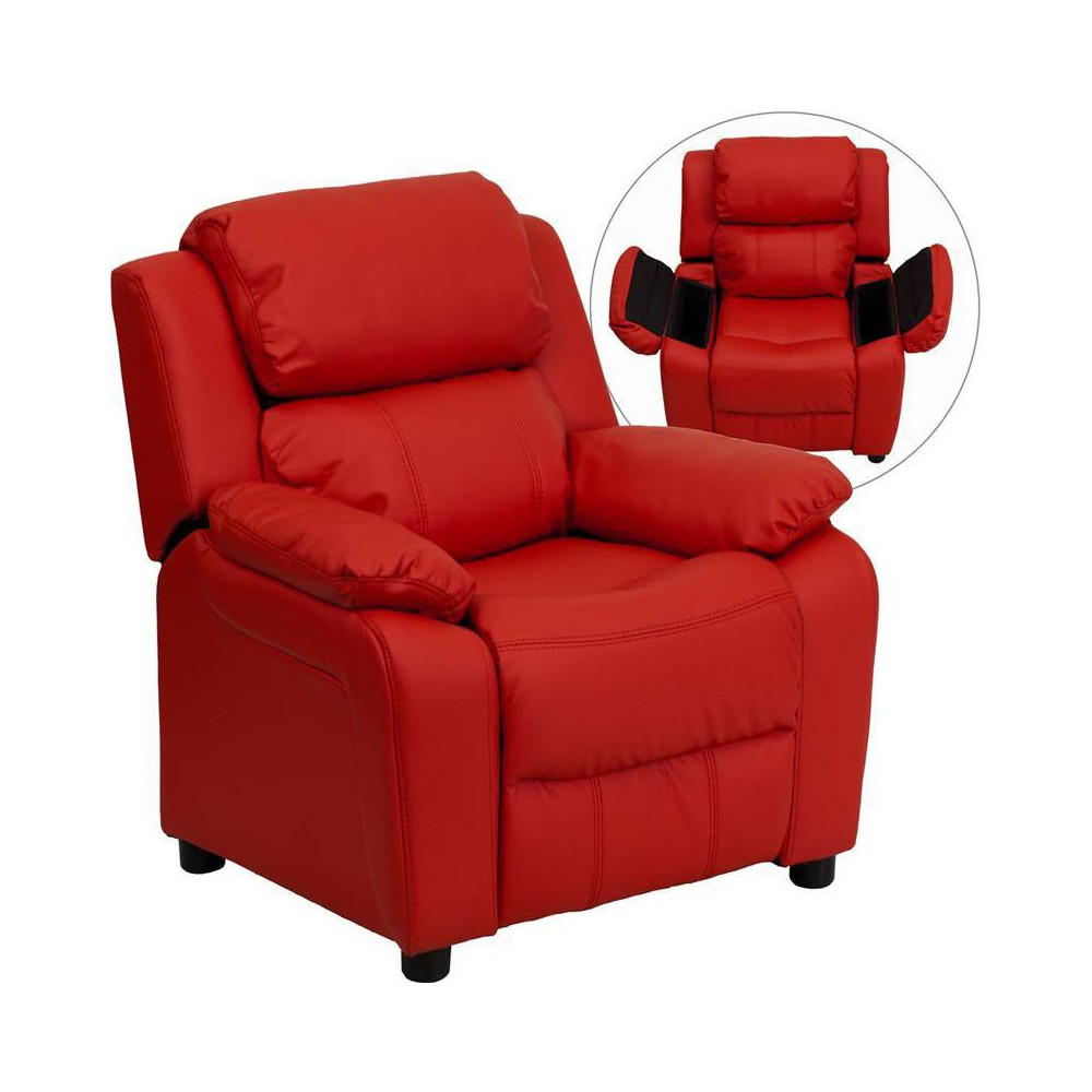 Deluxe Padded Contemporary Kids Recliner with Storage Arms Vinyl Red - Riverstone Furniture