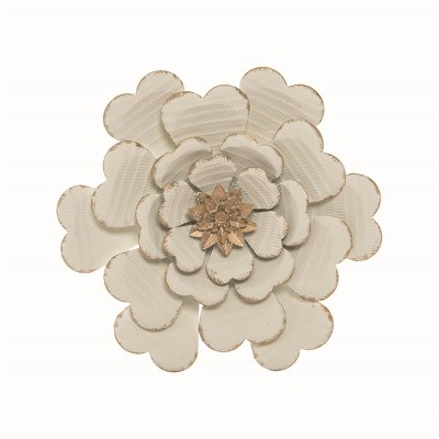 White Metal Layered Flower Wall Décor - Foreside Home & Garden