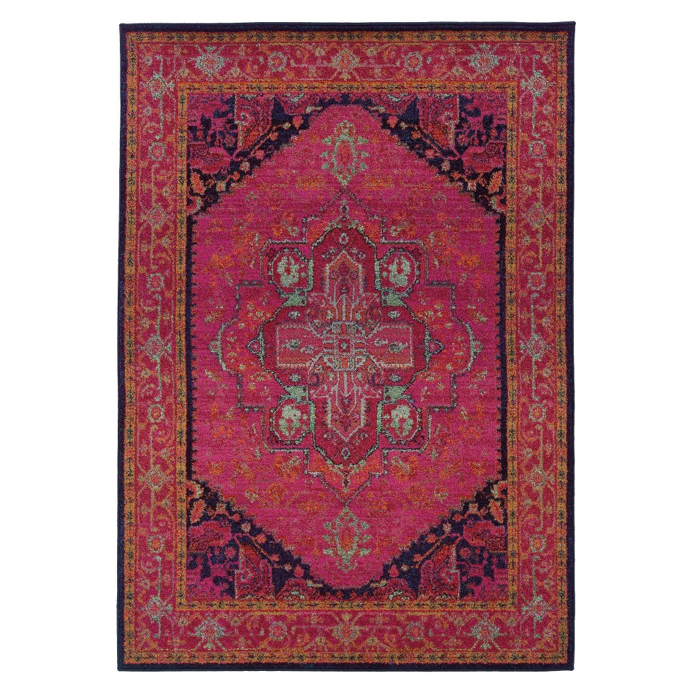 Medallion Area Rug Pink