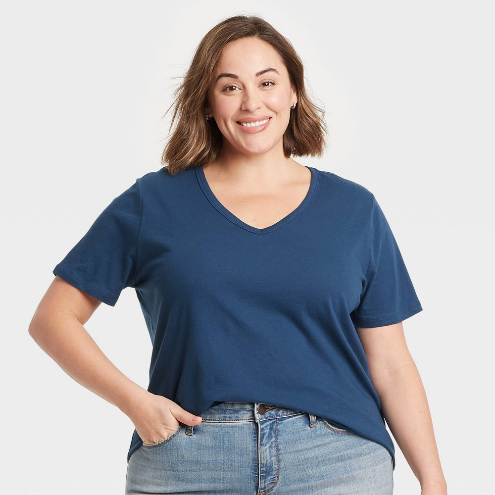 Women 39 S Plus Size V Neck Essential Slim Fit T Shirt Ava 38 Viv 8482 Blue 3x