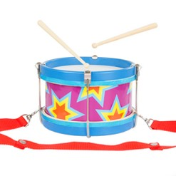Double-sided Toy Marching Drum with Adjustable Strap and Two Wooden Drum Sticks by Hey! Play!
