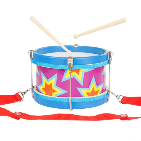 Double Sided Toy Marching Drum With Adjustable Strap And Two Wooden