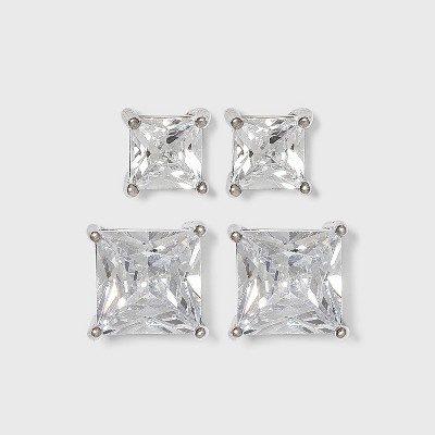 Sterling Silver Cubic Zirconia Duo Square Stud Earring Set - A New Day™ Clear