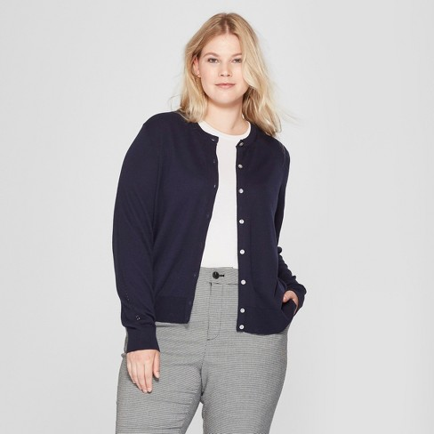 Women's Plus Size Crew Neck Cardigan - A New Day™ - image 1 of 3
