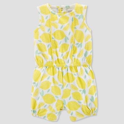 Baby Girls' 1pc Lemon Romper - Just One You® made by carter's Yellow 3M