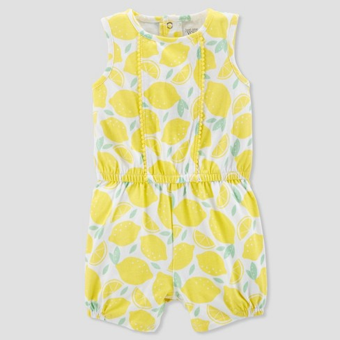 Baby Girls' 1pc Lemon Romper - Just One You® made by carter's Yellow - image 1 of 1